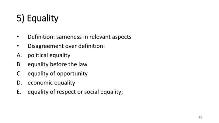 5) Equality