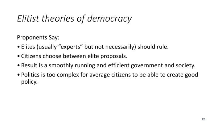 Elitist theories of democracy