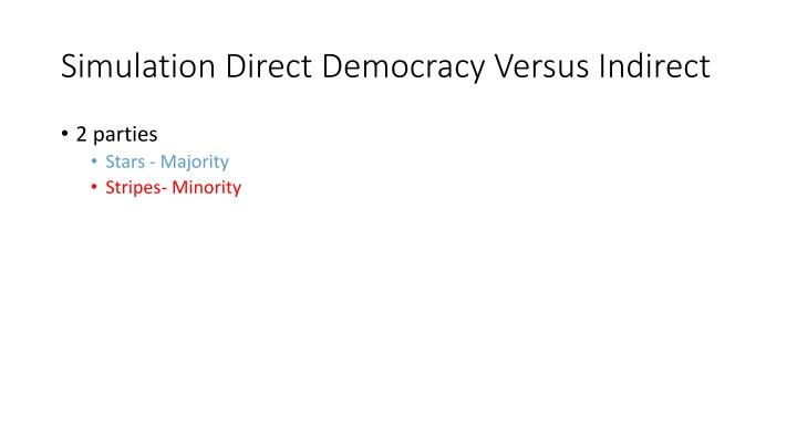 Simulation Direct Democracy Versus Indirect