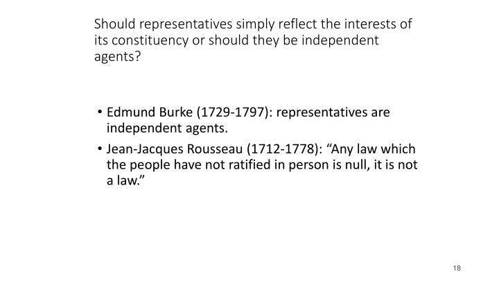Should representatives simply reflect the interests of its constituency or should they be independent agents?