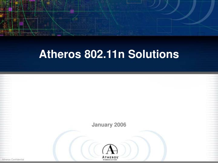 Atheros 802 11n solutions