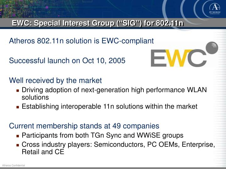 "EWC: Special Interest Group (""SIG"") for 802.11n"