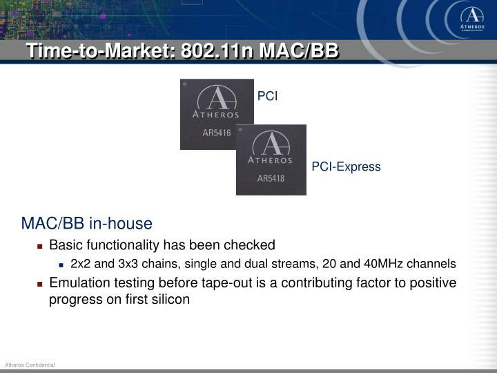 Time-to-Market: 802.11n MAC/BB
