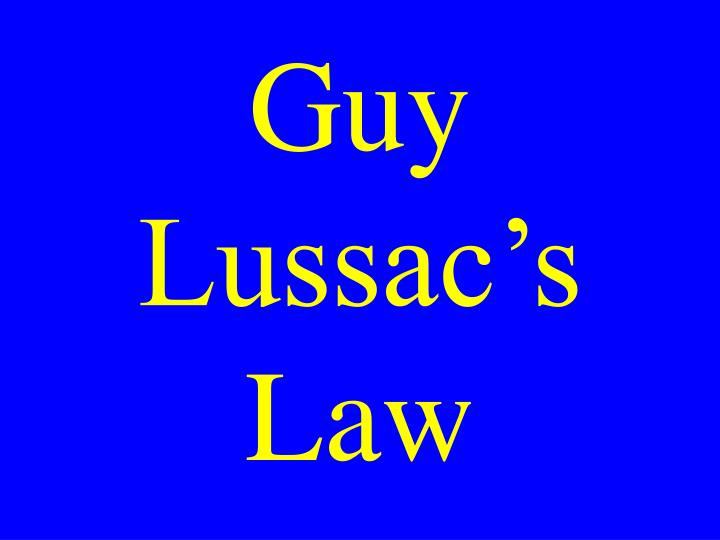 Guy Lussac's Law