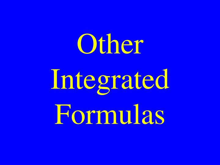 Other Integrated Formulas