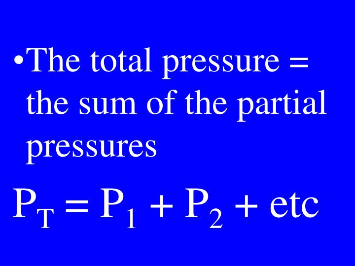 The total pressure = the sum of the partial pressures
