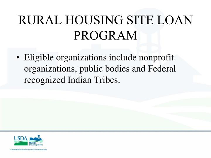 RURAL HOUSING SITE LOAN PROGRAM