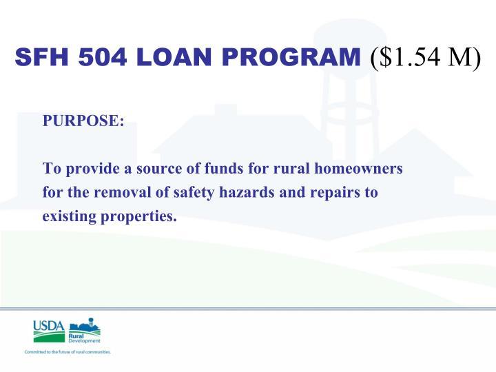 SFH 504 LOAN PROGRAM