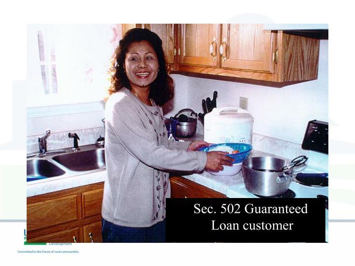 Sec. 502 Guaranteed Loan customer