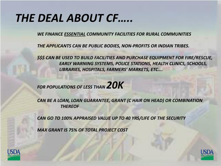 THE DEAL ABOUT CF…..
