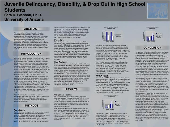 Juvenile Delinquency, Disability, & Drop Out in High School Students