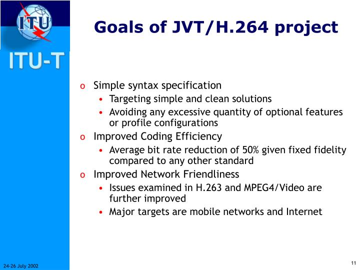 Goals of JVT/H.264 project