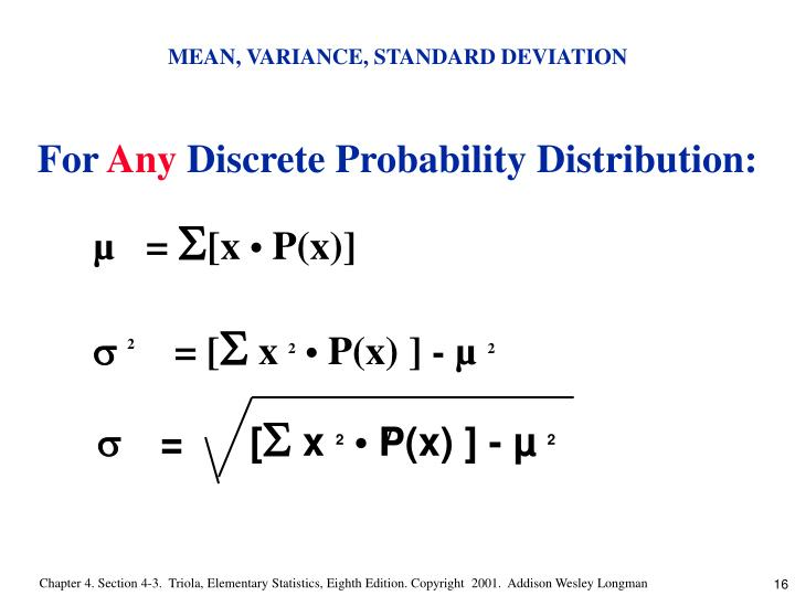 the mean variance and standard deviation 44 measures of variability: range, variance, and standard deviation while mean and median tell you about the center of your observations, it says nothing about the 'spread' of the numbers.