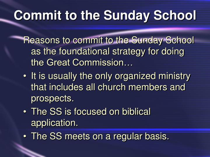 Commit to the Sunday School