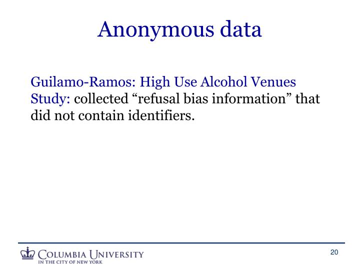 Anonymous data