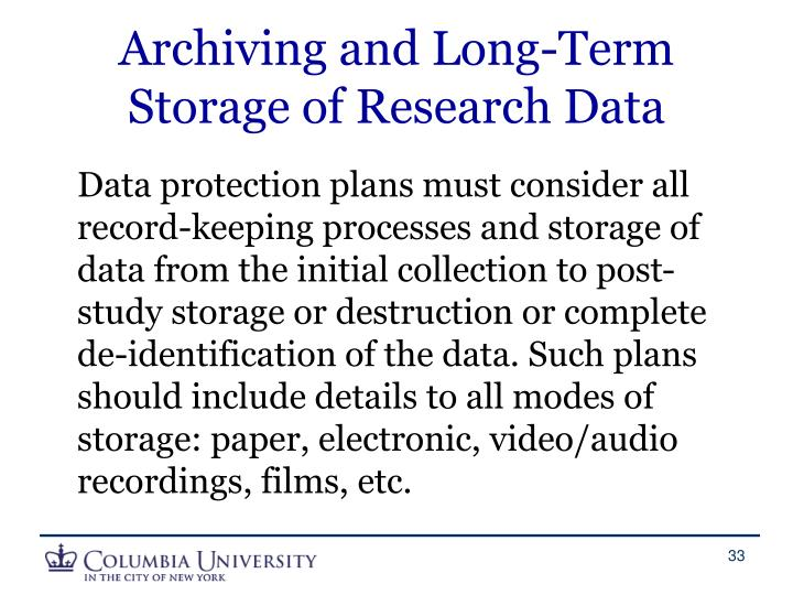 Archiving and Long-Term Storage of Research Data