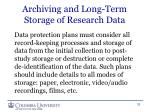 archiving and long term storage of research data