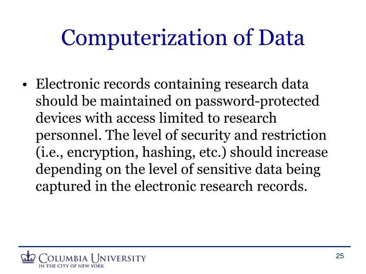 Computerization of Data
