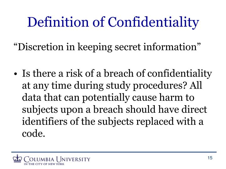 Definition of Confidentiality