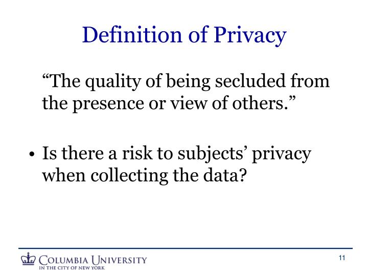 Definition of Privacy