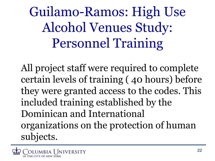 Guilamo-Ramos: High Use Alcohol Venues Study: Personnel Training