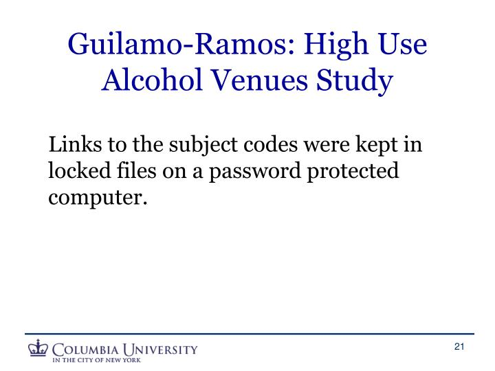 Guilamo-Ramos: High Use Alcohol Venues Study