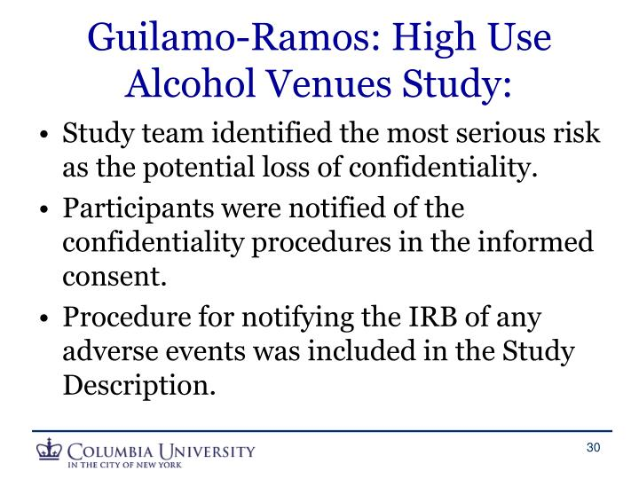 Guilamo-Ramos: High Use Alcohol Venues Study: