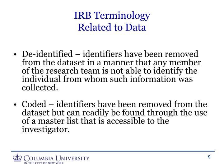 IRB Terminology