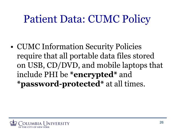 Patient Data: CUMC Policy