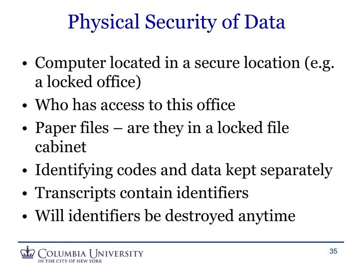 Physical Security of Data