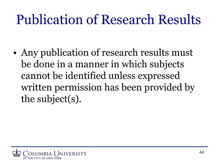 Publication of Research Results