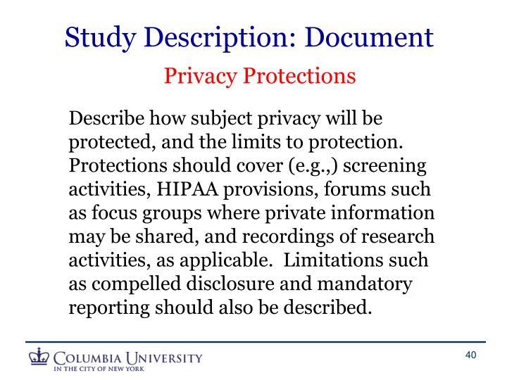 Study Description: Document