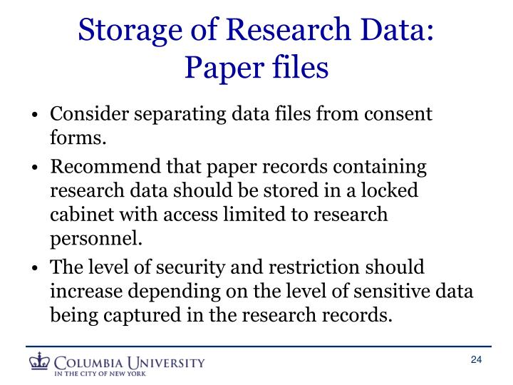 Storage of Research Data: