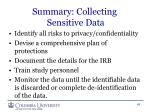 summary collecting sensitive data