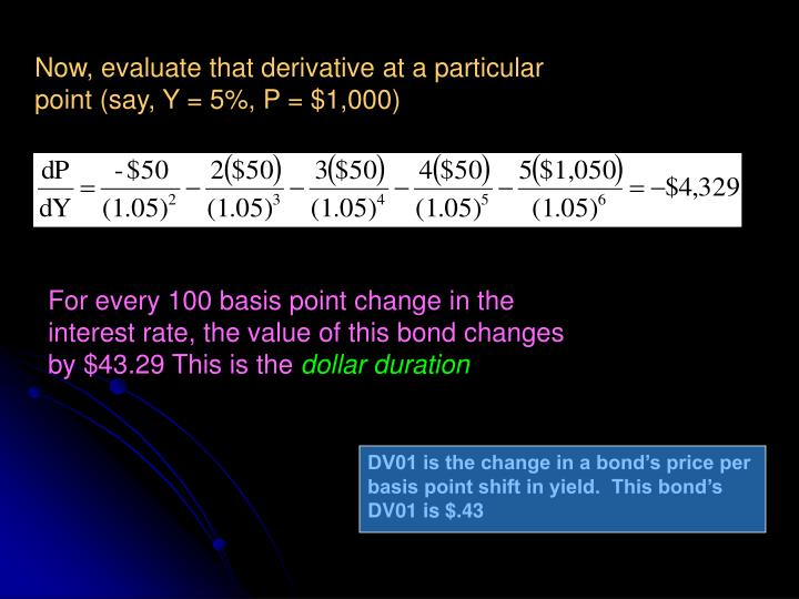 Now, evaluate that derivative at a particular point (say, Y = 5%, P = $1,000)