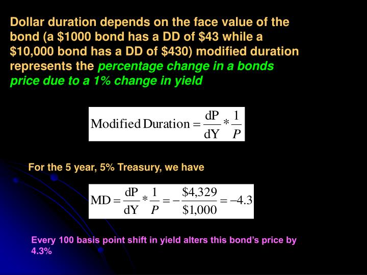 Dollar duration depends on the face value of the bond (a $1000 bond has a DD of $43 while a $10,000 bond has a DD of $430) modified duration represents the