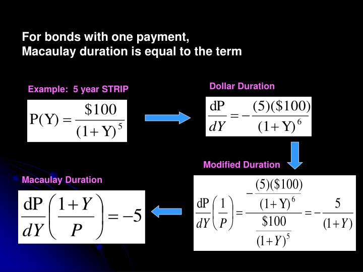 For bonds with one payment, Macaulay duration is equal to the term