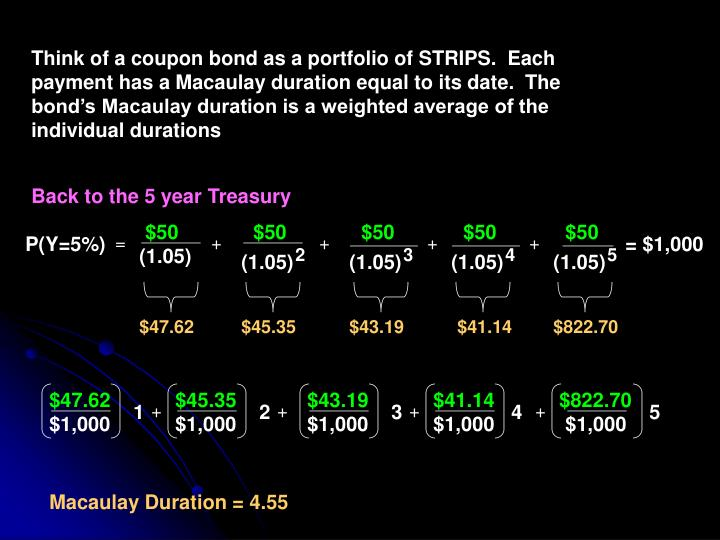 Think of a coupon bond as a portfolio of STRIPS.  Each payment has a Macaulay duration equal to its date.  The bond's Macaulay duration is a weighted average of the individual durations