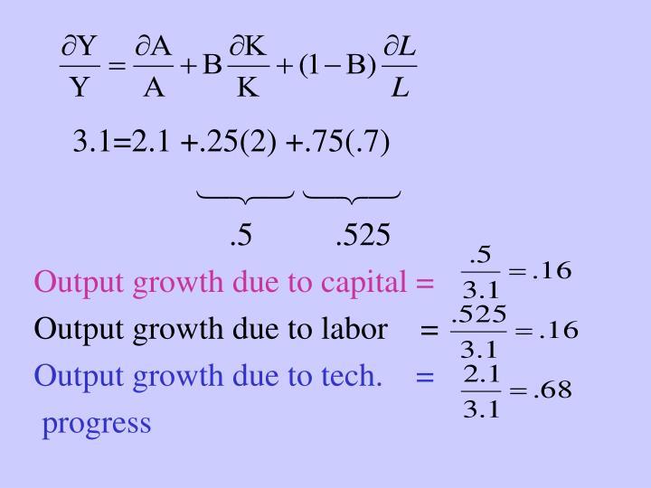 3.1=2.1 +.25(2) +.75(.7)