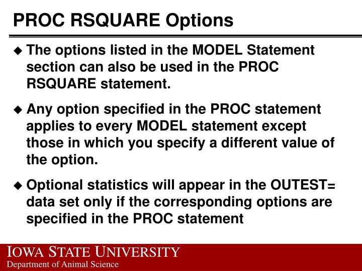 PROC RSQUARE Options