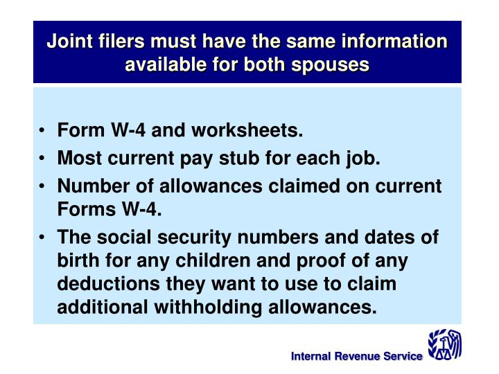 Joint filers must have the same information available for both spouses