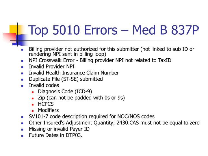 Top 5010 Errors – Med B 837P