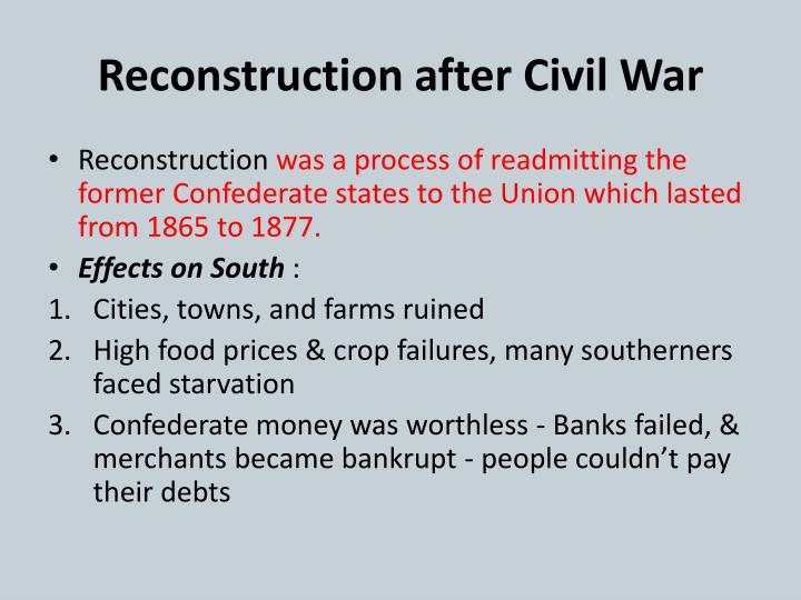 Reconstruction after Civil War