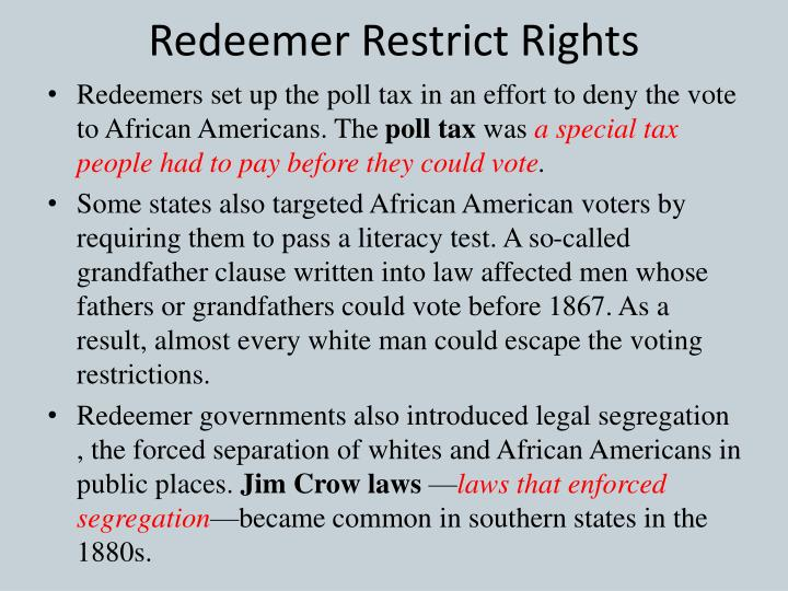 Redeemer Restrict Rights