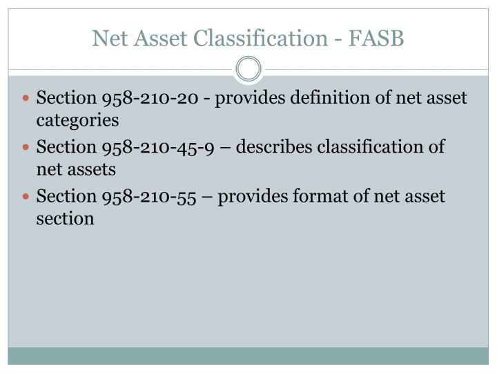 Net Asset Classification - FASB