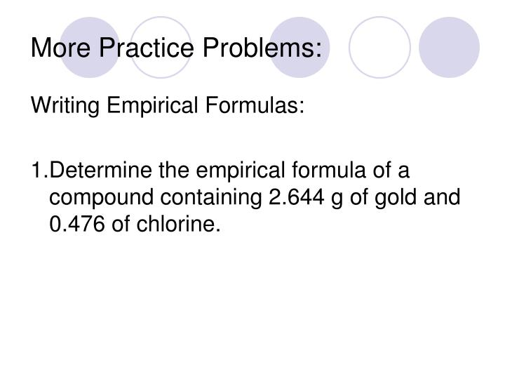 More Practice Problems: