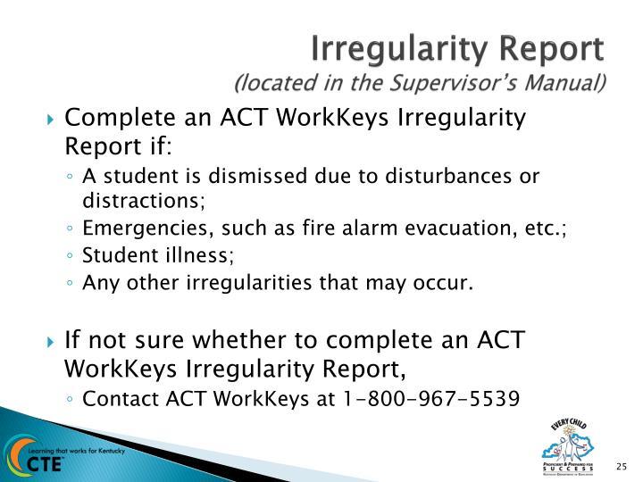 Irregularity Report