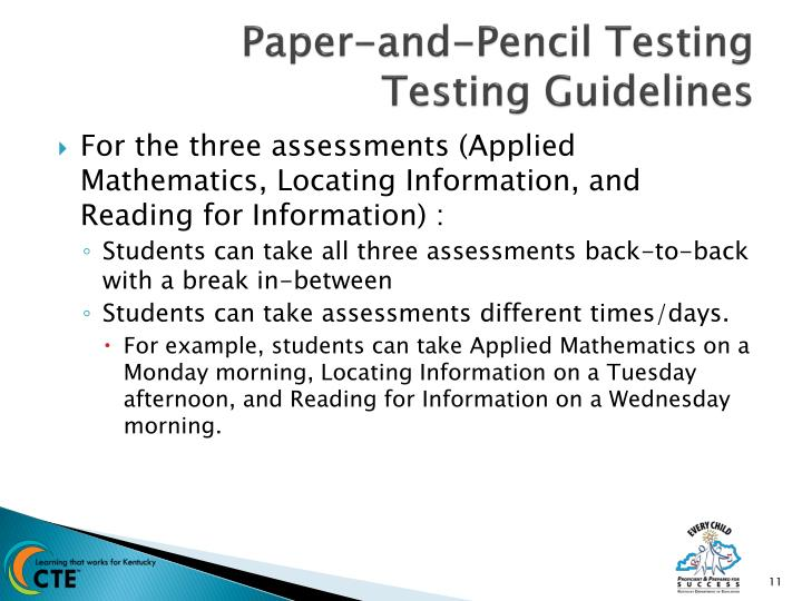 Paper-and-Pencil Testing