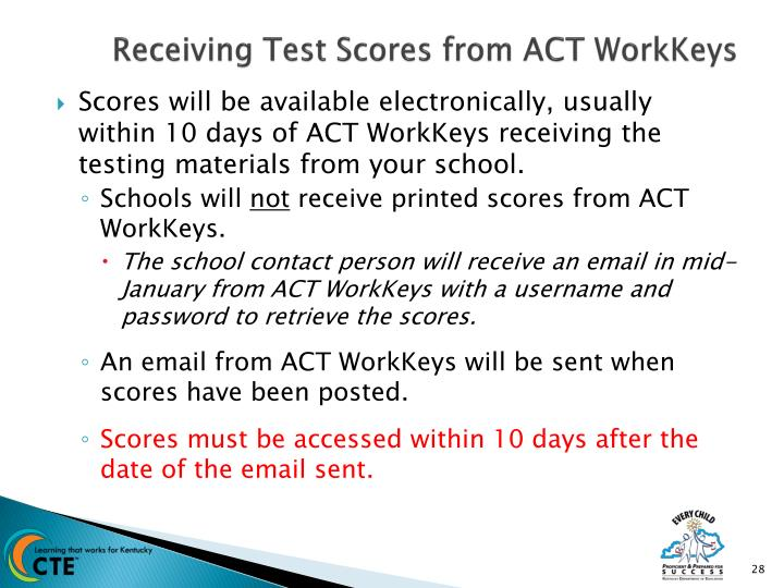 Receiving Test Scores from ACT WorkKeys