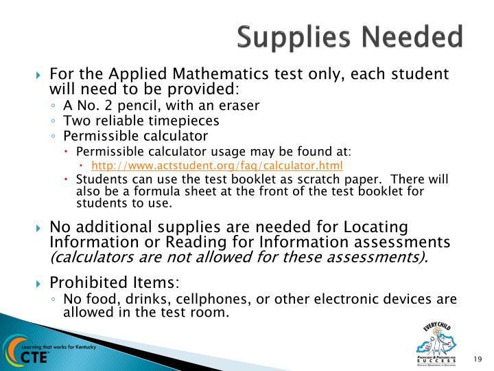 Supplies Needed
